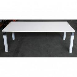 Tavolo/Scrivania Bianco Luxury in Metallo con Piano Nobilitato - 180x80x80 - Bianco