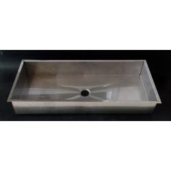TEC SERVICE - Lavabo Inox Rettangolare da Incasso con Bordo Piatto 820x320x120mm