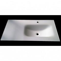 Lavabo Bagno da Incasso con Vaschetta Decentrata a Destra 100x50cm - Conglomerato Tecnico - Bianco Satinato Opaco