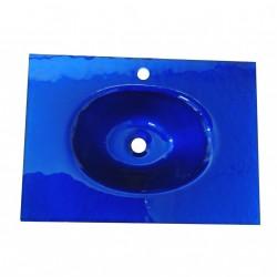 Lavabo Bagno da Incasso con Vaschetta Centrale Ovale BUCCIATO BLU 70x50cm - Vetro