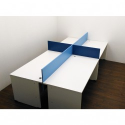 Arredo Ufficio - 4 Postazioni OfficePro Call Center con divisori Bianco/Blu 80x160x72.5cm