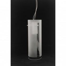 deMajo XILO S10 - Lampada a Sospensione Cristallo Bianco Sationato e Trasparente - Montatura in Metallo Cromato