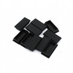 10 x Tappo Copriforo Rettangolare in Nylon - Nero - 40x20mm