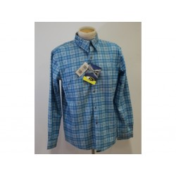 Ande Camicia in flanella con bottoni da Uomo - Taglia L - Azzurra