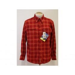 Ande Camicia in flanella con bottoni da Uomo - Taglia L - Rossa