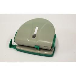 LEBEZ Perforatore per Fogli - Ferro - Verde/Grigio - Vaschetta in Plastica