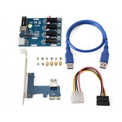 XCSOURCE PCI-E Express 1X 1 to 3 Port Switch Multiplier Expansion+USB 3.0 Cable AC817