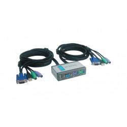KVM Switch a 2 porte con cavi KVM incorporati e 1 porta USB 2.0 DKVM-2KU