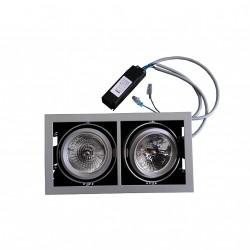 ilmas BOB ECO - Faretto Doppio da Incasso in Metello con Lampada QR111 ed Alimentatore - Alluminio