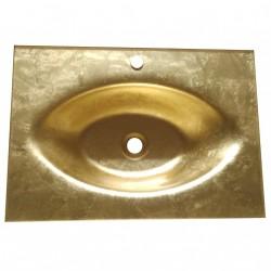 Lavabo Bagno da Incasso con Vaschetta Centrale Ovale FOGLIA ORO 70x50cm - Vetro