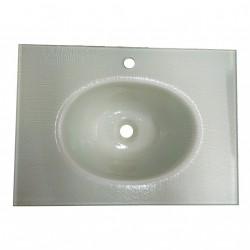 Lavabo Bagno da Incasso con Vaschetta Centrale Ovale SPATOLATO BIANCO 70x50cm - Vetro