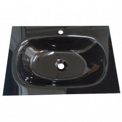 Lavabo Bagno da Incasso con Vaschetta Centrale Ovale NERO CINESE 70x48cm - Vetro