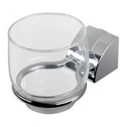 GEESA NO8002 - Porta Spazzolino con Bicchiere in Vetro Trasparente ARGO Collection - Cromato